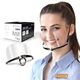 SHIELDOFGLORY Black Chrome Clear Face Mask Reusable 1 Set 4 Replacement Shields (2 Cover Nose, 2 Mouth Shield) - Anti Fog, 100% Polycarbonate Shields, Sanitary Open Face Guard for Wherever