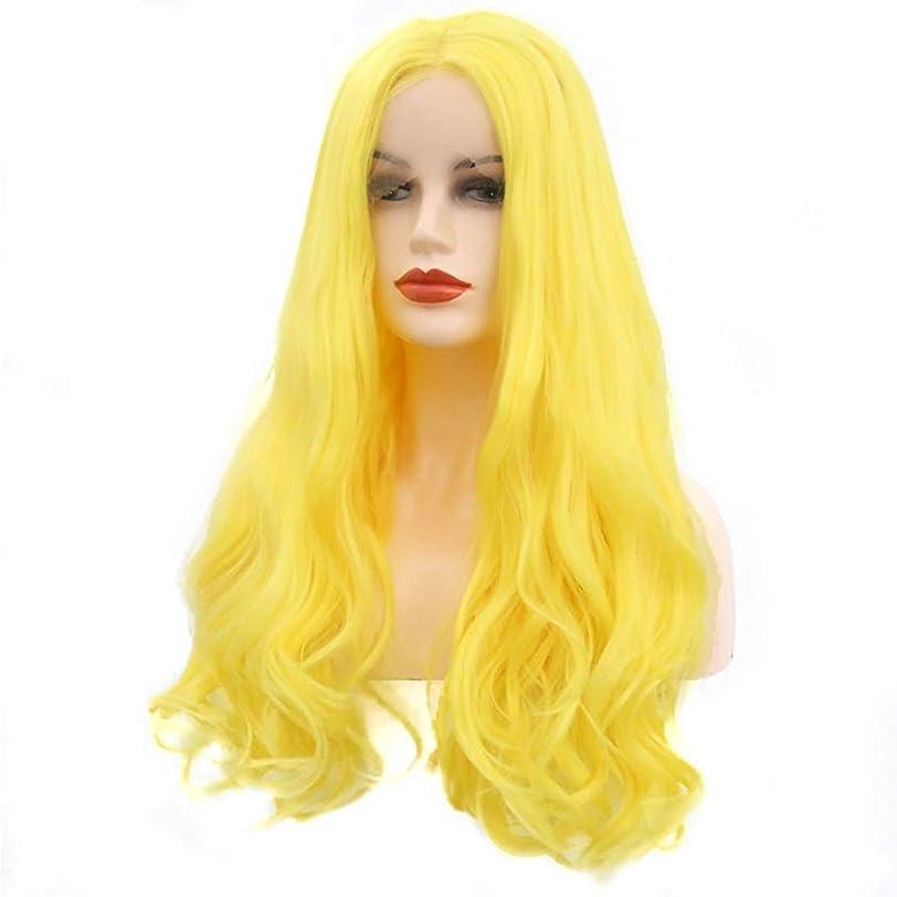請求印象肌YESONEEP 女性の長い巻き毛のフロントレースの人工毛耐熱ウィッグコスプレ仮装かつら合成の髪レースかつらロールプレイングかつら (サイズ : 16 inches)