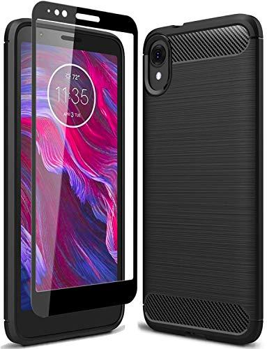 PhuLok Moto E6 Case, Motorola E6 Case, with Tempered Glass Screen Protector, Slim Thin Soft TPU Rubber Bumper Rugged Durable Protective Case for Motorola Moto E6 2019 (Black)
