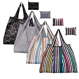 Reusable Shopping Bags - Eco-Friendly Foldable Groceries Pouch Set (Pack of 4)