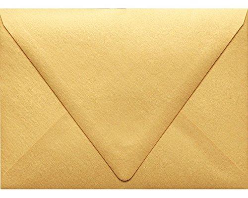 LUXPaper A7 Envelopes in 80 lb. Gold Metallic, Printable Contour Flap Envelopes for Invitations, 50 Pack, Envelope Size 5 1/4 x 7 1/4 (Gold)