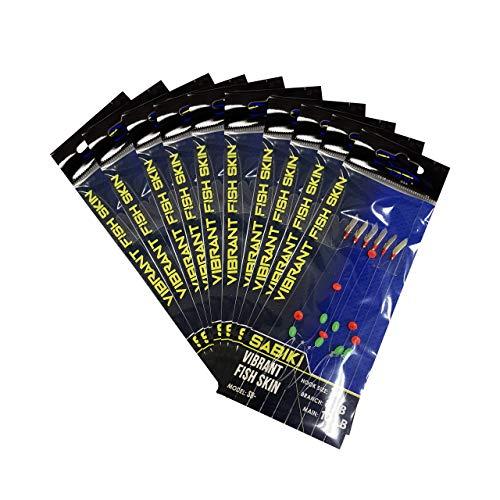 Ahi USA SB-203V Rainbow Skin Sabiki Rig- Size 6 Hooks- 10 Pack