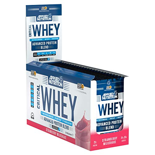 Applied Nutrition Critical Whey Sachet Box, On The Go Protein Powder Shake, Gold Muscle Building Supplement with Glutamine & High Standard Amino Acids, BCAA - 24 x 30g (Strawberry)