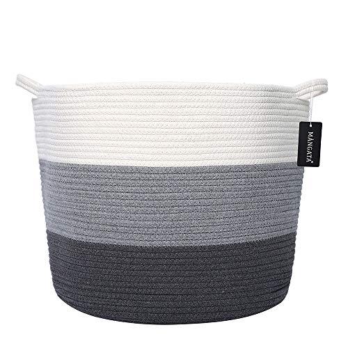 MANGATA Extra Grande Juguete para bebé Canasta de Almacenamiento Algodón Cuerda Tejida, Suave Tela Plegable Cestas de lavandería con Asas (Blanco & Gris & Azul - Ancho)