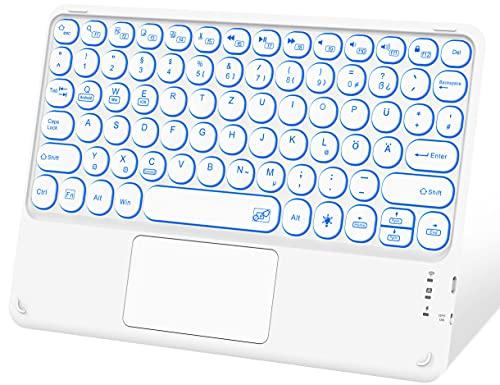 Sross Tastiera Bluetooth con touchpad QWERTZ, retroilluminata, tastiera per iPad, iPad Pro, iPad Air, iPad Mini, Mac, Samsung, Surface Pro Go, iOS Android Windows, bianco