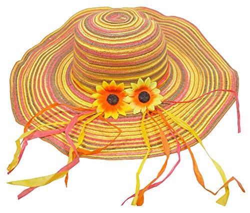 Das Kostümland Strohhut mit Sonnenblumen Small Flower - Rosa Gelb - Damen Hut zum Hippie Kostüm, für Party und Strand