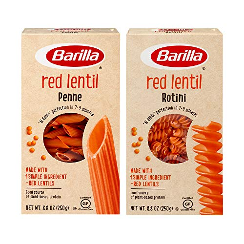 Barilla Red Lentil Rotini Pasta and Penne Pasta Variety Pack, 8.8 Ounce (Pack of 4) - Plant Based Protein Pasta - Naturally Gluten Free Pasta - Veggie Pasta - Vegan Pasta