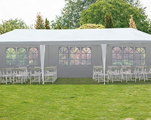 Gazebo Tent 10'x30' Canopy Tent Outdoor Gazebo Canopy Wedding Party Tent Heavy Duty Gazebo Pavilion, White (10x30ft 5 Removable Sidewalls)