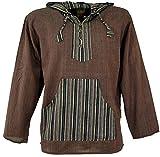 Guru-Shop Yoga Hemd, Goa Hemd, Patchwork Sweatshirt, Herren, Coffee, Baumwolle, Size:M, Männerhemden Alternative Bekleidung