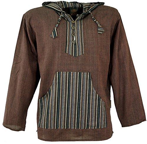 Guru-Shop Yoga Hemd, Goa Hemd, Patchwork Sweatshirt, Herren, Coffee, Baumwolle, Size:L, Männerhemden Alternative Bekleidung