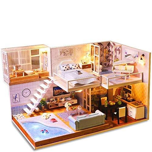 DWLXSH Miniatura casa de muñecas con muebles, bricolaje casa de muñecas hecha a mano Kit Mini Plus Duplex Inicio Modelo, 1: 24 Escala 3D puzzle creativo de casas de muñecas juguetes for los niños rega