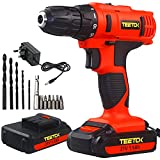 Cordless Drill 21V Electric Screwdriver Combi Drill Lithium 2 Batteries Fast Charger Power Tool Variable Speed 18+1 Torque Setting Home DIY