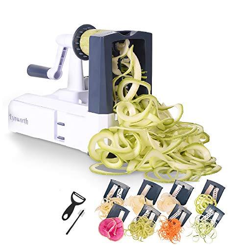 Spiralizer Vegetable Slicer: Lynworth Ultimate 8-Blade: Best Spiral Slicer, Strongest, Heaviest Duty Veggie Pasta Spaghetti Maker for Healthy Low Carb, Paleo, Gluten-Free Meals. Bonus 3 Free Gifts