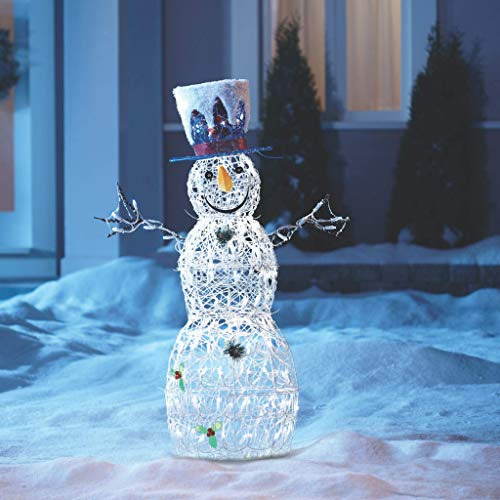 NOMA Pre-Lit LED Light Up Whimsical Snowman | Outdoor Christmas Lawn Decoration | 3.25-Feet