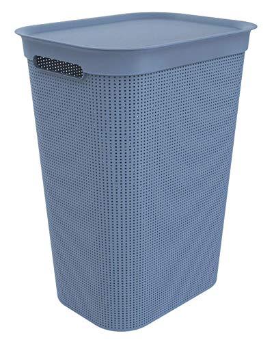 Rotho Brisen Wäschesammler 50l mit Deckel, Kunststoff (PP) BPA-frei, Blau, 43 x 34 x 53 cm