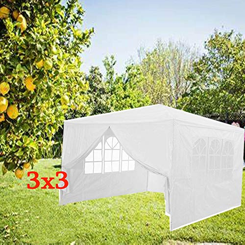 JAOSY 3Mx3M Gazebo Waterproof Heavy Duty Tent Marquee Awning Canopy 4 Side Walls 3 with Windows 1 Door with Zip, Easy Assemble and Remove (White)