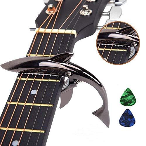 Imelod Guitarra de aleación de zinc Cejilla Shark Cejilla para guitarra acústica y eléctrica con buena sensación de la mano, sin traste y duradero(Negro)