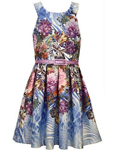 Little Girls Blue/Multi Floral U-Neck Belted Knit Fit Flare Dress, LBNA-R3-TDLG-RST16, Bonnie Jean, Blue