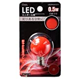 オーム LED電球 ボール電球形 E12 赤 0.5W 広配光 43mm OHM LDG1R-G-E12 11 06-3216
