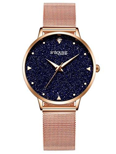 Alienwork Damen-Armbanduhr Quarz Rose-Gold mit Metall Mesh Armband Edelstahl schwarz echtes Marmor Zifferblatt