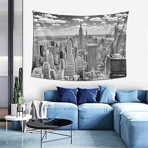 Manhattan From Top Of Skyscrapers Urban Global Culture Tapiz para dormitorio, sala de estar, dormitorio, 156 x 100 cm