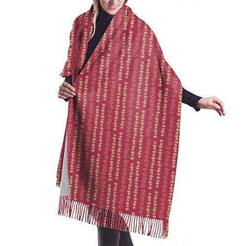 Guirnalda de Navidad vintage de color rojo dorado chal grande suave y acogedor bufanda de cachemira invierno cálido bufanda capa de bufanda para mujer bufandas de gran tamaño