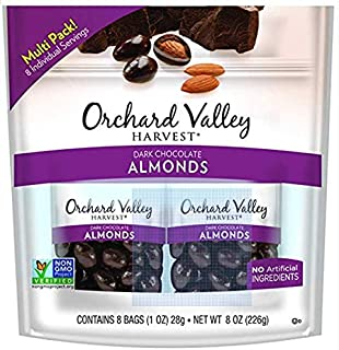 ORCHARD VALLEY HARVEST Dark Chocolate Almonds, Contains 8 Bags ( 1 OZ)