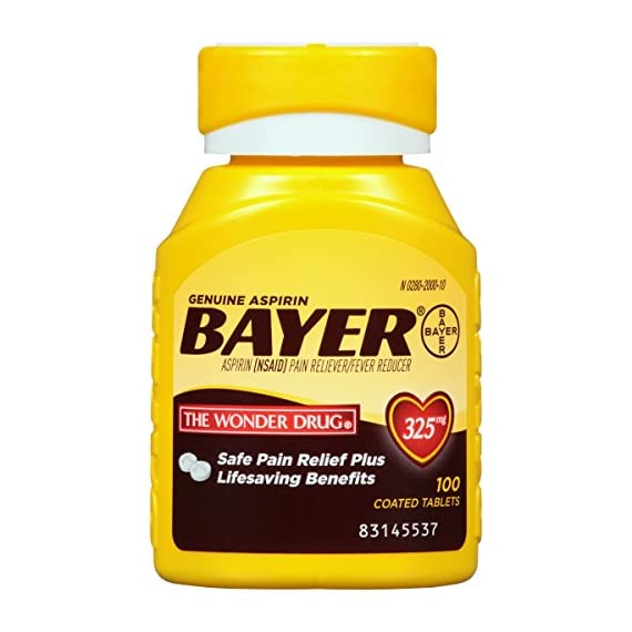 Genuine Bayer Aspirin 325mg Coated Tablets, Pain Reliever and Fever Reducer, 100 Count 5 Provides safe, proven pain relief when taken as directed Is caffeine-free Is sodium-free