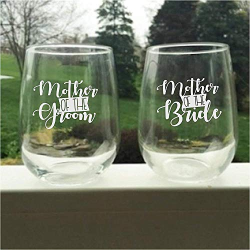Copas de té / vino de boda sin tallo Copas para la madre de la novia Juego de 2 para la madre del novio