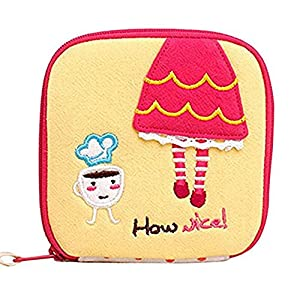 Gloryhonor Girl's Cute Cartoon Sanitary Napkin Towel Pads Small Bag Purse Holder Organizer