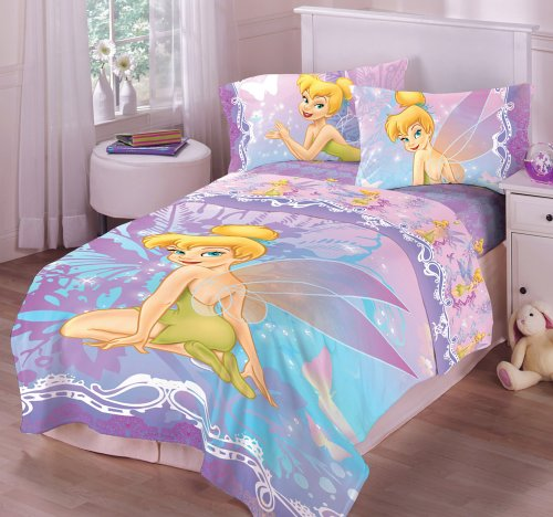 Purple pink and blue tinkerbell bedding set