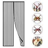 Cortina de malla magnética para puerta GOUDU con cierre magnético, anti mosquitos, mosquitera para evitar insectos volando, negro, 80x210cm