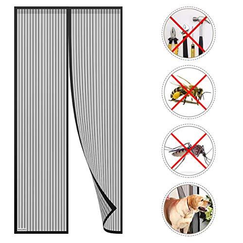 AMZERO Magnet Fliegengitter Tür 80x210cm, Insektenschutz Balkontür Fliegenvorhang, Klettband Selbstklebend Ohne Bohren für Balkontür Wohnzimmer Schiebetür Terrassentür - Schwarz