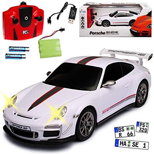 Siva Porsche 911 997 GT3 RS 4.0 Coupe Weiss 2,4 GHz RC Funkauto mit Beleuchtung und Akkupack 1/24 Modell Auto mit individiuellem Wunschkennzeichen