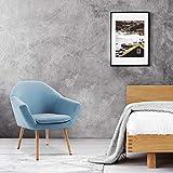 Mc Haus NAVIAN - Sillón Nórdico Escandinavo de color Azul, butaca comedor salón dormitorio, sillón acolchado con Reposabrazos y patas de madera 74x64x76cm