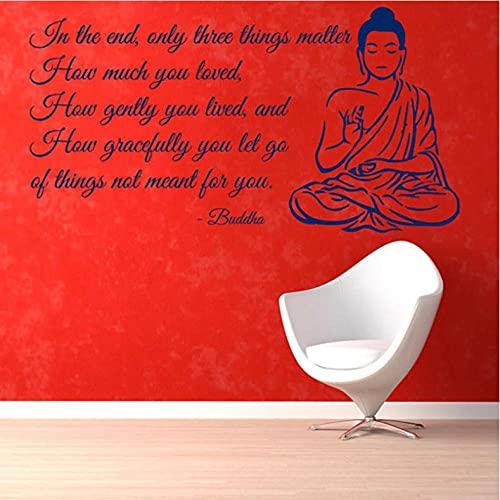 Njhjhjahdjdh 57 * 38Cm Meditación Buda Calcomanías De Pared Cita Inicio Diseño De Interiores Arte Palabra Escribir Mural Yoga Dormitorio Arte Decoración Mural