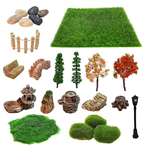 Mini Zen Garden Accessories, Outdoor Fairy Garden Miniatures, Sandbox Decorations, Zen Tray Items, Terrarium Ornaments, Dollhouse Supplies, Desk Top Figurines, Bonsai Decorative Craft Tools Kit