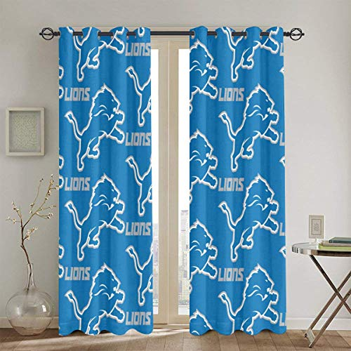 HeatherAssante Detroit Lions Blackout Curtains, Bedroom Curtains Shower Curtain, Living Room with Insulated Curtains, 52 x 84 inches, 2 Panels