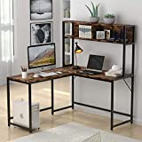 Tribesigns L-Shaped Desk with Hutch,55 Inch Corner Computer Desk Gaming Table Workstation with Storage Shelves Bookshelf for Home Office,Rustic