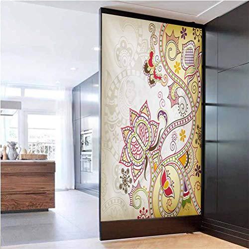 W 23.6' x L 78.7' 3D window film privacy decoration glueless glass stickers UV Glass Film Window Home Office Living Room,Oriental Flower Ornaments Pattern Curvy Swirled Abstract Design Colorful Art Mu