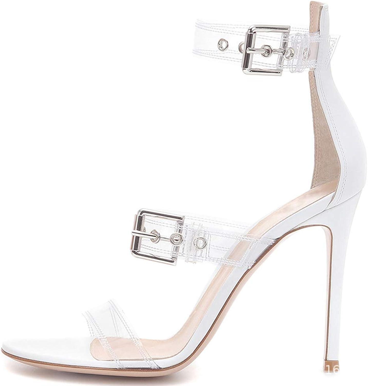 Women's Sandals, Ladies Transparent PVC Sandals - Metal Buckle high Heel Sandals - Large Size high Heel Sandals Super high Heel (8CM or More)