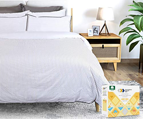 100% Cotton Striped Duvet Cover Set - Luxe 400 Thread Count, Printed Bedding Set, Smooth Sateen Weave, Button Closure and Corner Ties (3 Piece, Modern Pinstripe, Full / Queen)