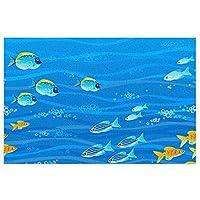 海の魚 花柄 玄関マット 泥落とし 屋外 屋内 キッチンマット 北欧風 PVC ビニール フロアマット ドアマット 40*60cm 室外 室内 滑り止め 耐磨耗性 洗える