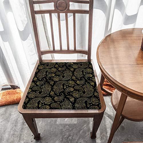 Cojín de asiento de espuma viscoelástica, patrón de Paisley en relieve dorado en negro, tela duradera, cojín cuadrado universal, cubierta de silla de decoración del hogar