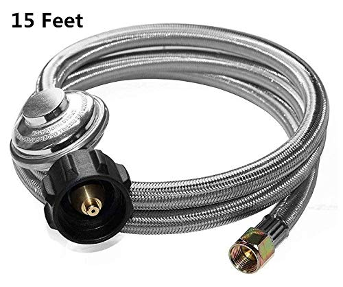 "DOZYANT 15 Feet Universal QCC1 Low Pressure Propane Regulator Grill Replacement with Stainless Steel Braided Hose for Most LP Gas Grill, Heater and Fire Pit Table, 3/8"" Female Flare Nut"