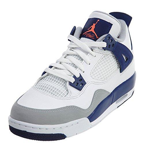 Nike Nike Mädchen Air Jordan 4 Retro GG Laufschuhe, Weiß Orange Blau Weiß Hypr Orng Dp RYL Bl WLF, 39 EU