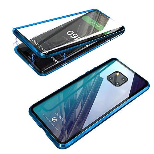 Jonwelsy Cover per Huawei Mate 20 PRO, Adsorbimento Magnetico Paraurti in Metallo con 360 Gradi Protezione Case Doppi Lati Trasparente Vetro Temperato Flip Custodia per Mate 20 PRO