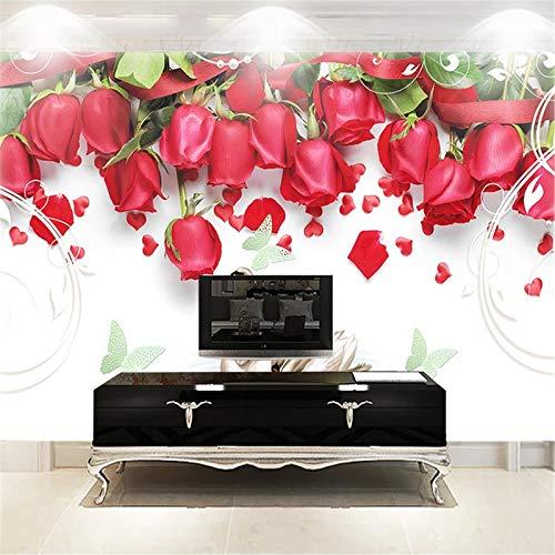 JIYOTTF 3D Foto TV Wallpaper Wandmalerei Dekoration WandaufkleberRot Mode Floral Muster(W 350 x H 256cm) Wandbild Tapete 3D Wohnzimmer Schlafzimmer Home Decor Selbstklebende wasserdichte Aufkleber Mo