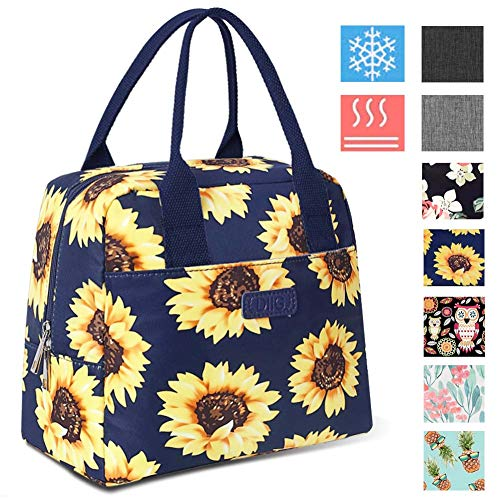 DIIG Lunch Box for Women, Insulated Lunch Bags for Women, Large Cooler Tote For Work, Floral Reusable Snack Bag with Pocket, Sunflower Printing/Gray/Black/White(Sunflower/Navy Blue)