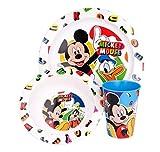 3 Teile Geschirr Lunch Set Geschirrset : Teller + Schale + Trinkbecher Kunststoff BPA frei Mikrowellen geeignet Wieder verwendbar (Mickey Mouse)